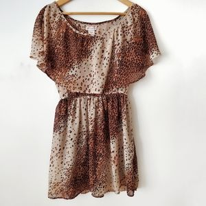 BAND OF GYPSIES Off Shoulder Dress Leopard Size M